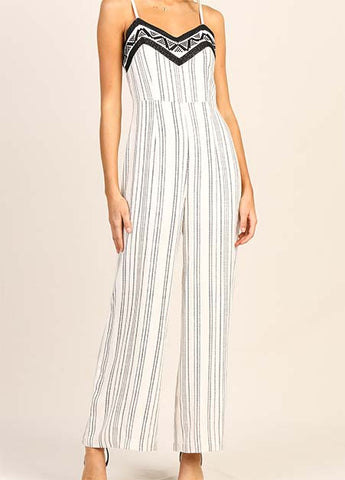 Striped And Embroidered Jumpsuit