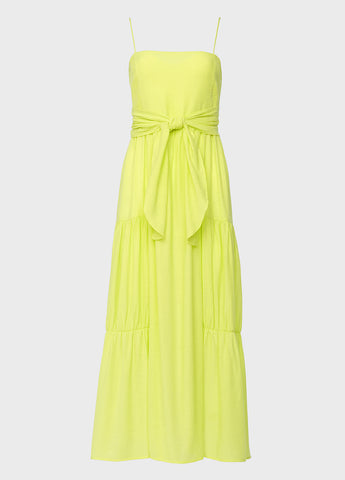 Tiered Tie Front Neon Maxi Dress