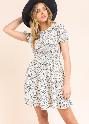 Heart Print Smocked Mini Dress