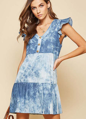 Tie Dye Tiered Babydoll Dress