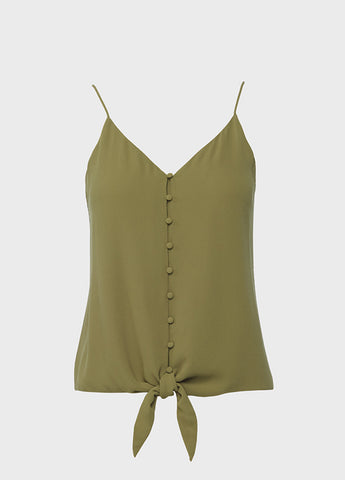 Covered Button Tie Front Cami Top