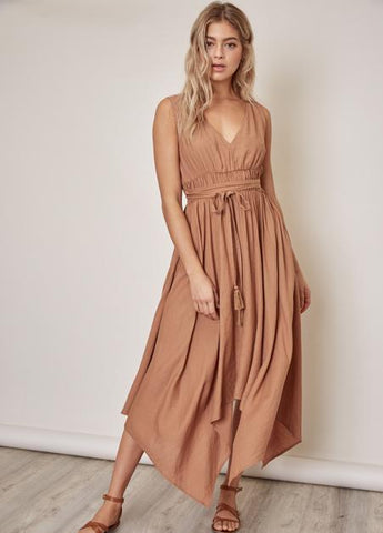 Ruched Waist Handkerchief Hem Dress