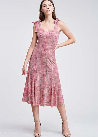 Tie Shoulder Plaid Godet Dress