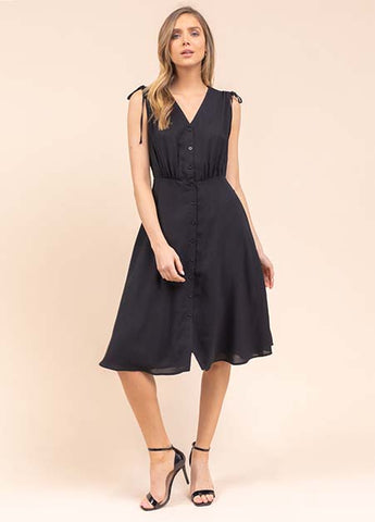 Ruched Shoulder Button Front Dress