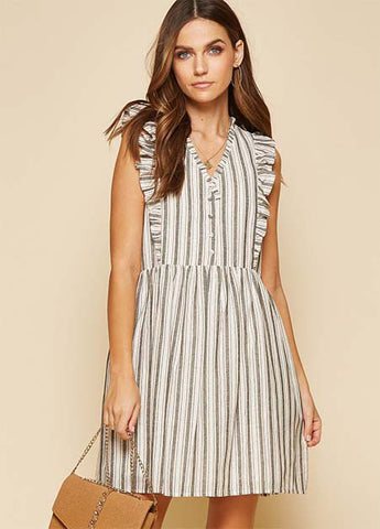 Ruffle Sleeve Striped Dress