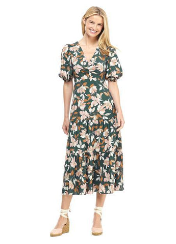 Vintage Floral Puff Sleeve Midi Dress