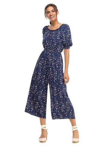 Navy and Mauve Wide-Leg Jumpsuit