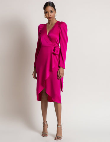 North Wrap Dress in Fuschia