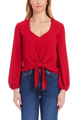 Long Sleeve Cheshire Top in Scarlet