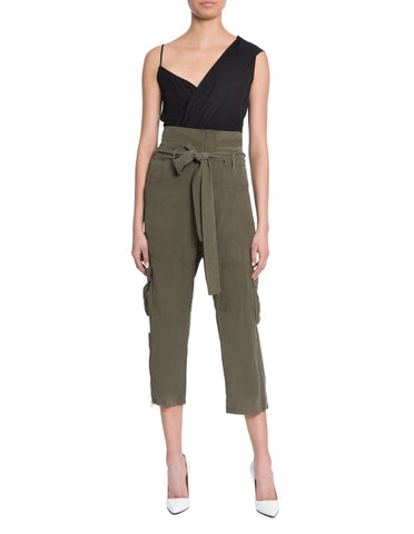 Turlington Silk Cargo Pant in Military Green