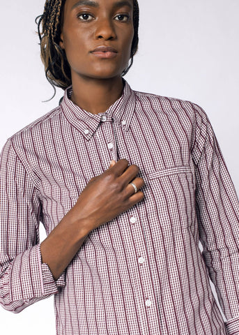 Ace Gingham LS Button Up in Pomegranate