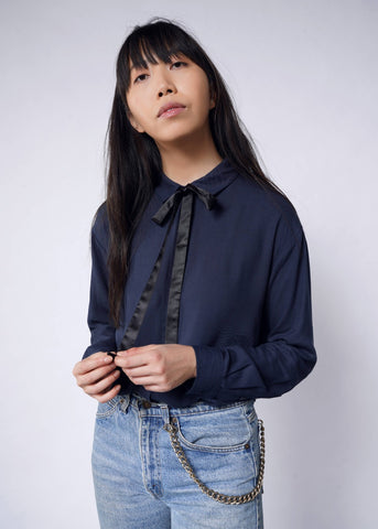 Empower LS Blouse in Navy