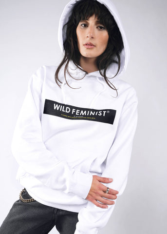 Wild Feminist by Wildfang Fleece Hoodie in White