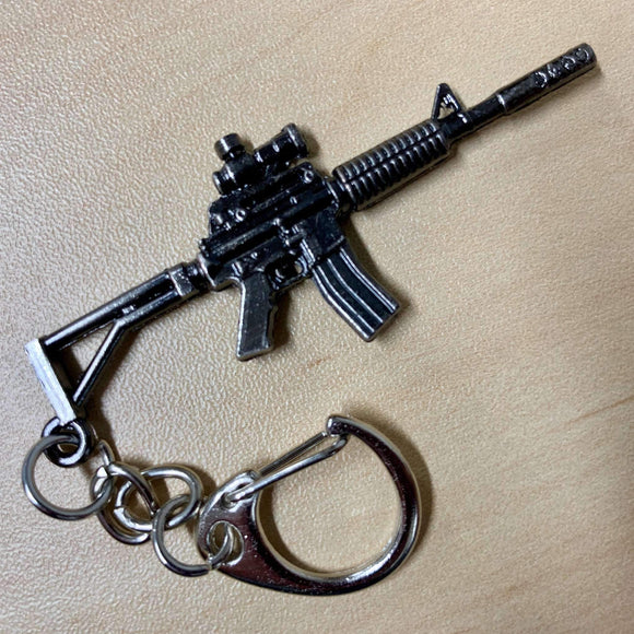 AR-15 Shaped Metal Key Chain & Zipper Pull