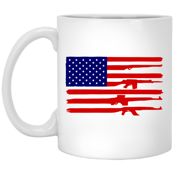 American Rifle Flag 2nd Gun Supporter White Drinking Mug (11 oz)