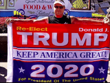Trump 2020 Re-Election Patriotic House Flag [Red + Blue]
