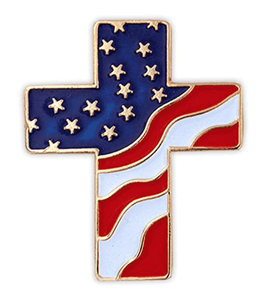 USA Flag Cross Lapel Pin