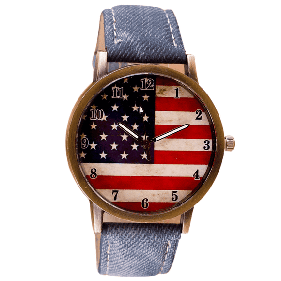 Patriotic American Watch with Blue Band