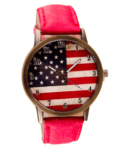 Patriotic American Watch with Red Band