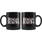 Reagan Bush '84 Commemorative Black Coffee Mug