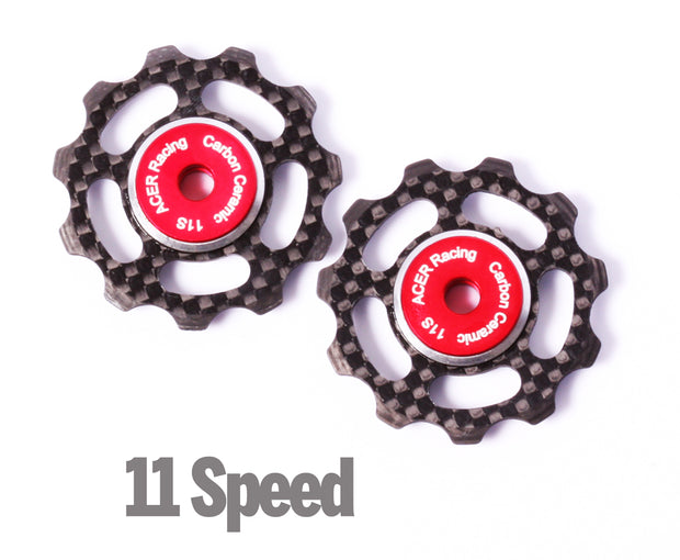 Carbon fiber bicycle jockey wheels