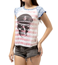 Load image into Gallery viewer, American Flag Raglan Tshirt- Hand Made Women Raglan T shirt