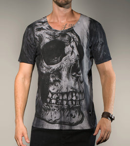 Big Skull Scope Neck T Shirt