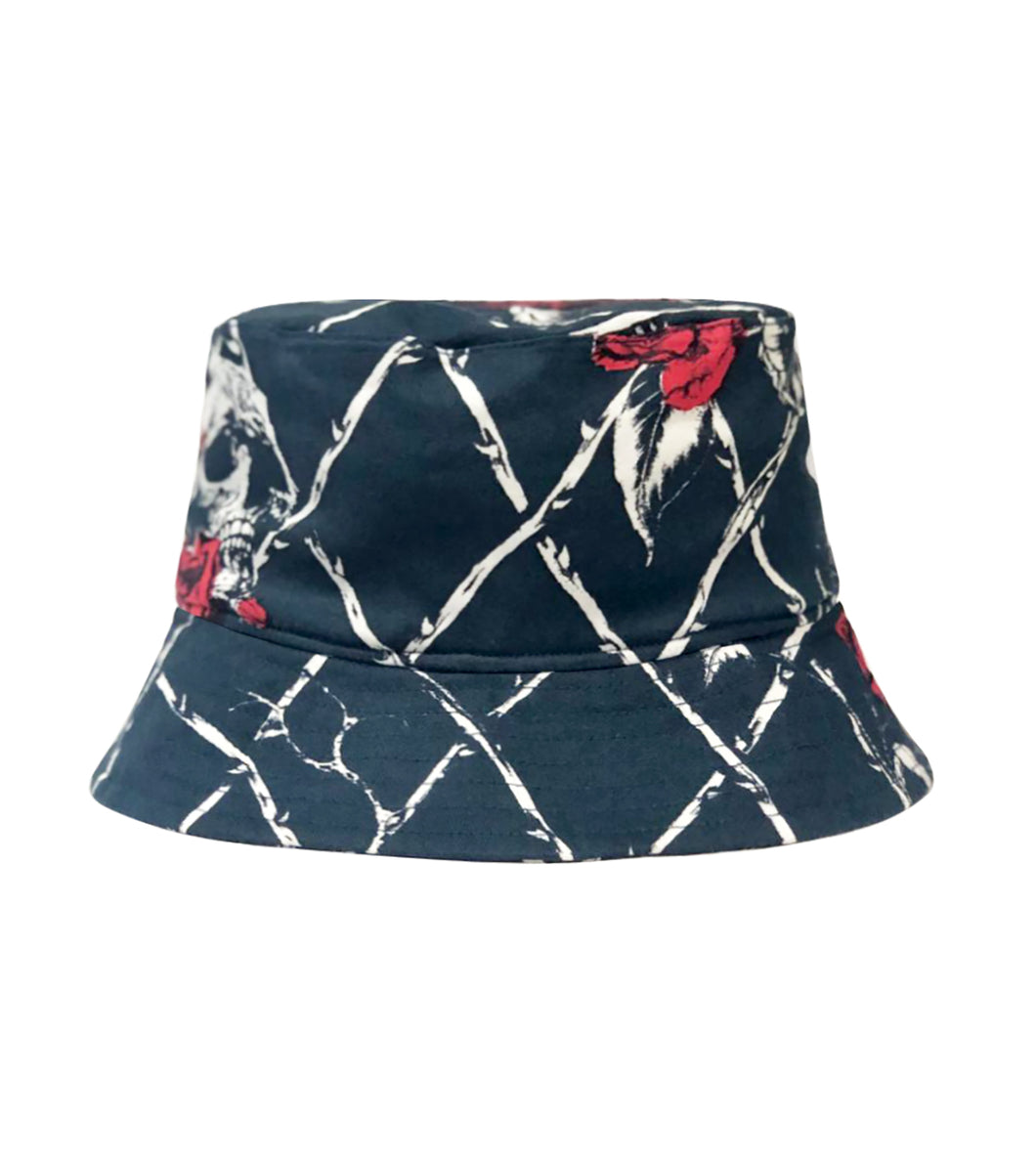 Bucket Hat Skull Rose