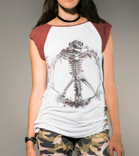 Load image into Gallery viewer, Peace Skull Raglan TSHIRT