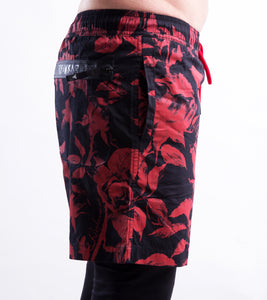 ROSE RED/BLK SWIMSHORT