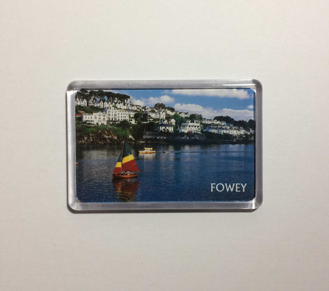View of Fowey with sailing boats Acrylic Fridge Magnet
