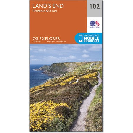 Map of Land's End - OS Explorer Map 102 (Penzance & St Ives)