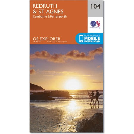 Map of Redruth & St Agnes - OS Explorer Map 104 (Camborne & Perranporth)
