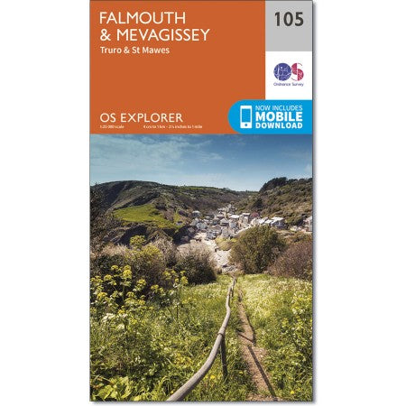 Map of Falmouth & Mevagissey - OS Explorer Map 105 (Truro & St Mawes)