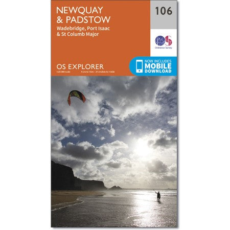 Map of Newquay & Padstow - OS Explorer Map 106 (Wadebridge, Port Isaac & St Columb Major)