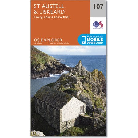 Map of St Austell & Liskeard - OS Explorer Map 107 (Fowey, Looe & Lostwithiel)