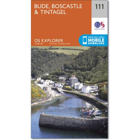 Map of Bude, Boscastle & Tintagel and the South West Coast Path - OS Explorer Map 111