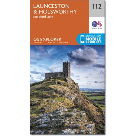 Map of Launceston & Holsworthy - OS Explorer Map 112 (Roadford Lake)