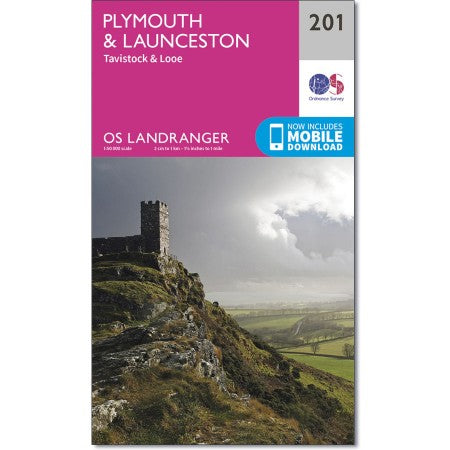 Plymouth & Launceston (inc. Tavistock & Looe) map - OS Landranger 201