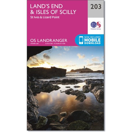 Land's End & Isles of Scilly (inc. St Ives & Lizard Point) map - OS Landranger 203