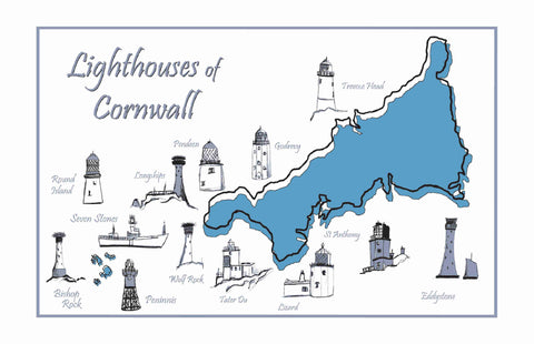 Lighthouses of Cornwall Tea Towel