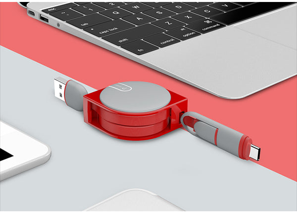 Câble de Charge USB Rétractable Type C et Micro USB rouge