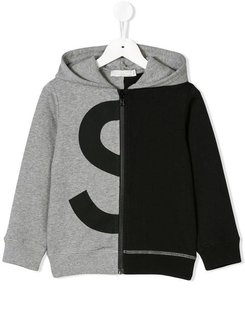 STELLA MCCARTNEY KIDS logo colour block zip hoodie