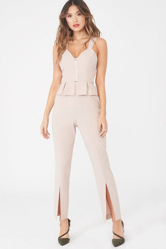 Lavish Alice tapered trouser with front split in nude