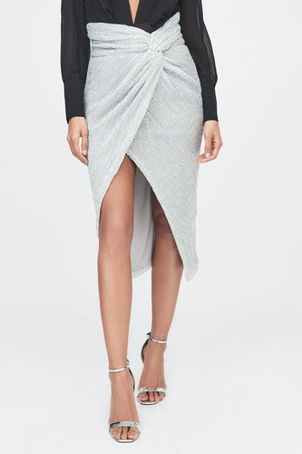 LAVISH ALICE silver iridescent sequin twisted front skirt