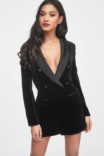 LAVISH ALICE soft velvet and satin mix tailored playsuit