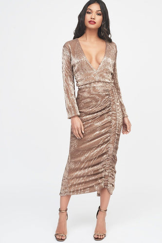 LAVISH ALICE pleated sequin ruched side midi dress in gold