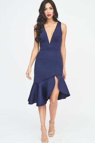 LAVISH ALICE v neck plunge scuba midi dress in midnight blue