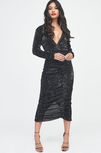 LAVISH ALICE pleated sequin ruched side midi dress in black