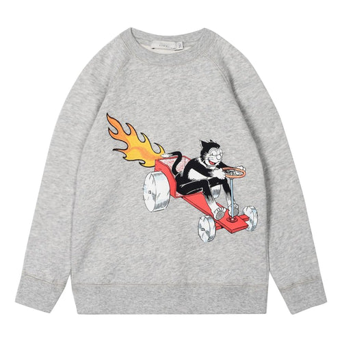 Stella McCartney Kids Billy Cat Organic Cotton Fleece Sweatshirt Grey